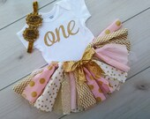 1st Birthday - First Birthday Tutu - Pink and Gold Tutu - Baby Girl Personalized Gold Glitter Onsie - Gold Glitter Baby Girl Tutu