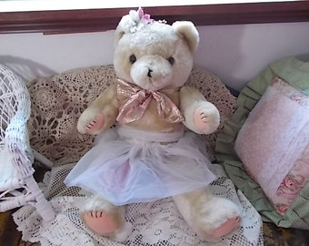 Jointed Teddy Bear, Teddy Bear, Bear, Vintage toys, Toys, Vintage Jointed Tan Ballerina Teddy Bear Sweet / .:)S