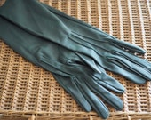 Elegant Evening Gloves - Long Green Gloves