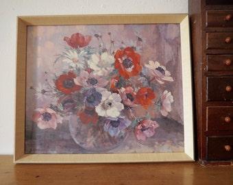 Vintage Still Life Flower Painting - Anemones Still Life Print