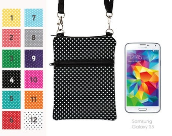 Travel Cell Phone Purse, Small Cross Body Bag for Passport, iPhone 7 Plus Sling Bag, Samsung Galaxy S4 Crossbody  - black and white  dots