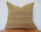 mustard yellow authentic african mudcloth  pillow cover