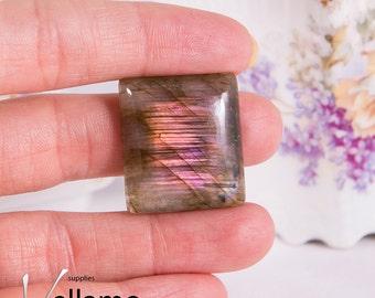 Unique rare labradorite, purple labradorite cabochon, rectangle cab, natural untreated flashy striped spectrolite designer stone, rare color