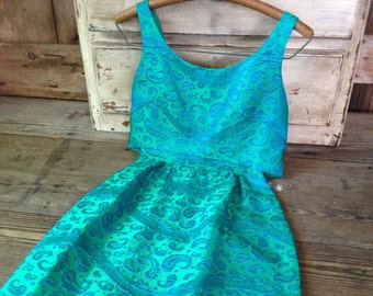 1960s Paisley Brocade Dress Formal Cocktail Hostess Gown Wedding Bridesmaid Blue Green Peacock