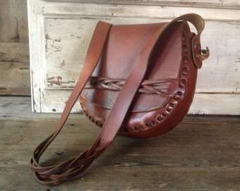 1970s Brown Leather Saddlebag Rustic Satchel Shoulder Bag