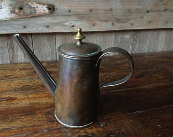 Copper Brass Coffee Pot Rustic French Country Farmhouse