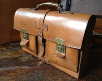 Vintage Sienna Brown English Leather Satchel Briefcase ~ Attache Case