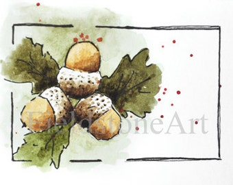Watercolor ACEO painting of acorns - original art