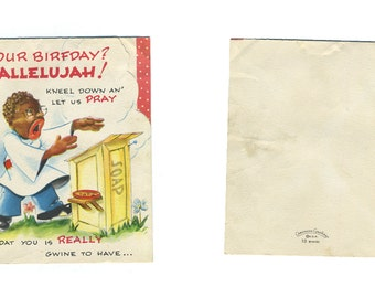 Rare 1950's Black Americana interest AFRICAN AMERICAN unused get well greeting card