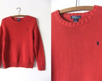 POLO Ralph Lauren Cotton Sweater - Classic 90s Preppy Style Bright Red Scoop Neck Jumper - Womens Large
