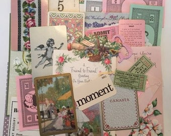 SCRAP PACK Pink & Green / Vintage 40 Pc. Paper Pack Ephemera Pcs. for Altered Art, Collage, Mixed Media, DIY Scrap Kit