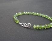 Natural Gemstone Peridot 5mm Smooth Rondelle Shape 925 Sterling Silver Bracelet