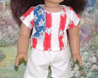 Fourth of July Tee and Shorts for American Girl