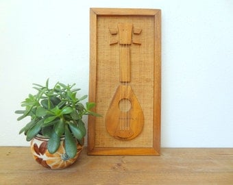 MCM Wooden Guitar Picture/Wall Hanging