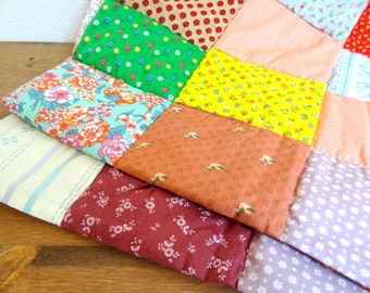 Handmade Vintage Patchwork Granny Chic Placemat Pair