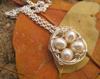 Four Egg Nest Necklace with .925 Sterling Silver: Four Bird Nest Necklace, Fresh Water Pearls Handwrapped