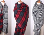Reversible Blanket Scarf, Oversized Scarf, Tartan Plaid Scarf,  Blanket Scarf, Oversized, Monogrammed