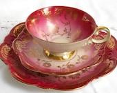 RESERVED  for Qi - vintage teacup trio red tea cup tea cups german teacup red teacup johann seltmann red tea cups  850