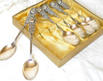 RESERVED  for B -6 vintage silver plated dessert spoons cutlery set Hildesheimer rose silver plate vintage dessert spoons tea party high tea