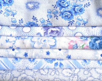 blue vintage fabric pieces patchwork fabric bundle french fabric french floral fabric floral fabric bundle french vintage