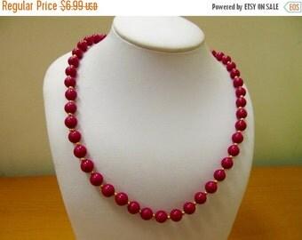 ON SALE Vintage Magenta Beaded Necklace Item K # 230