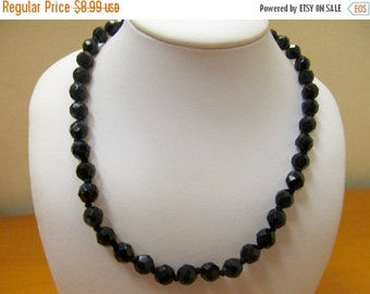 ON SALE Vintage Black Glass Beaded Necklace with Rhinestone Clasp Item K # 2227