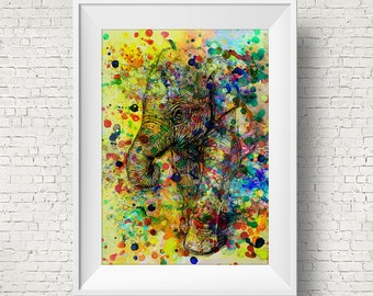 Colorful Abstract Elephant Art Print Watercolor Art Print Colorful Home Decor