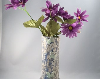 Textured Blue Vase with Butterflies ,Textured Porcelain, Pottery Vase,Handmade Porcelain Vase