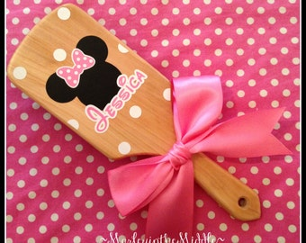 Minnie Mouse - Classic Wood Paddle Brush - Personalized