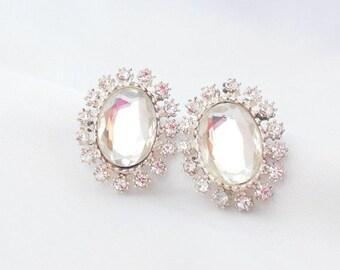 Biggest Sale Ever Vintage Rhinestone Earrings Crystal Clip on