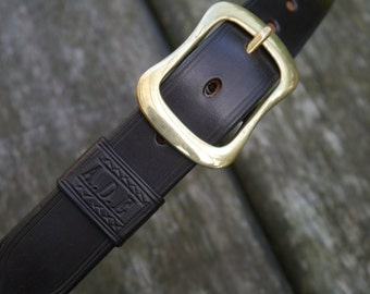 Handmade Leather Belt Personalised Lettering Quality Bridle Leather