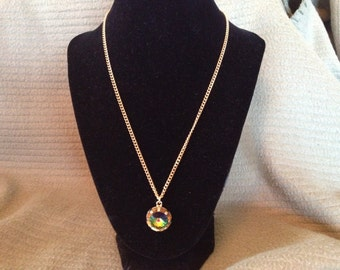 Vintage Goldtone Necklace with Goldtone Irridescent Rhinestone Pendant, Length 19''