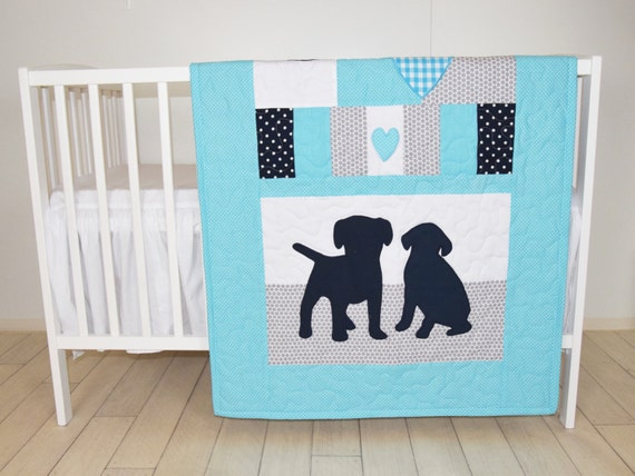 Puppy Blanket, Dog Nursery Quilt, Baby Boy Quilt, Boy Crib Bedding, Labrador Blanket, Aqua Gray Darl Blue Blanket, Custom Made