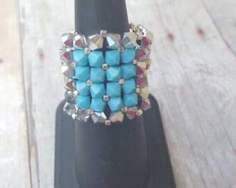 Turquoise and silver square bling ring. CLEARANCE