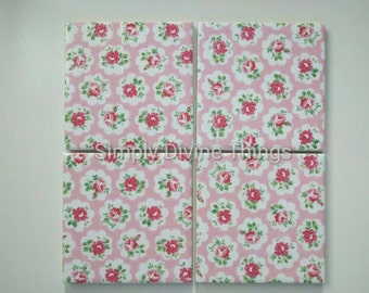 Shabby Chic Ceramic Coasters in Cath Kidston Mini Provence Rose in Pink