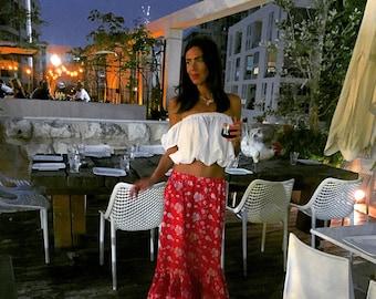 Red, Red Skirt, Boho, Gypsy, Bohemian Skirt, Red Cotton, Flowers Skirt, Long Skirt, Sheer Skirt