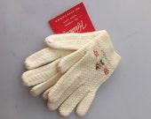 1950s Vintage little GIRL'S BEADED Knit Gloves w/ Tag Never Worn DEADSTOCK