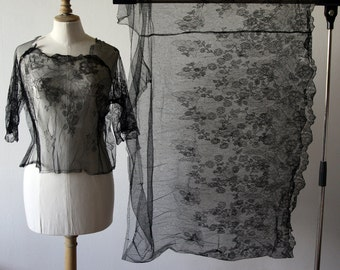 Antique silk French lace yardage and blouse, 1900's.