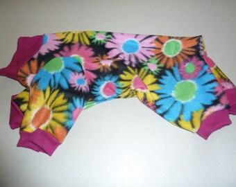 Fleece Doggy Pajamas, Flower Pajamas, Doggy Onesies, Medium Pajamas, Spring Pajamas
