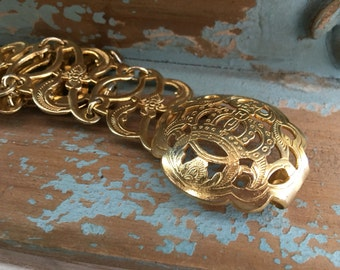 Brass Link Ladies Belt Stamped 100%
