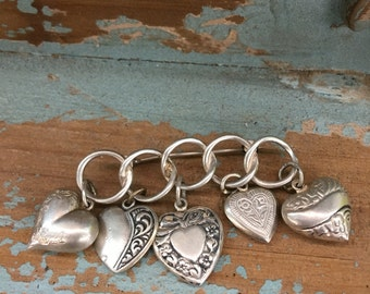 WWII Puffy Silver Heart Brooch
