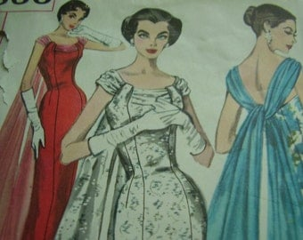 Vintage 1950's Simplicity 1866 Dress Sewing Pattern, Size 12 Bust 32
