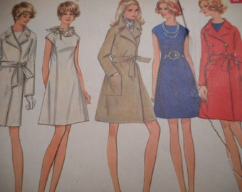 Vintage 1960's Butterick 5599 Dress and Coat Sewing Pattern, Size 16 1/2, Bust 39 1/2