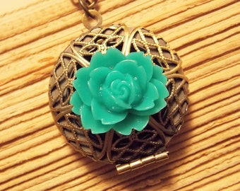 Bronze and Teal Flower Locket