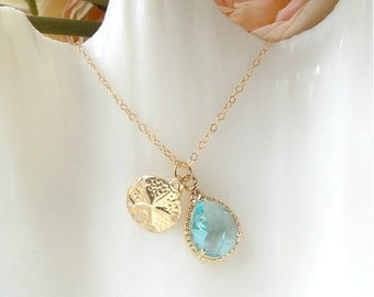 Aqua  Pendant and Gold Filled Sand Dollar Necklace. Wedding, Beach, Everyday.