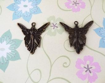 2 pcs - Bronze Angel Charm
