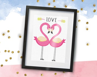 LOVE Flamingos A4 Print