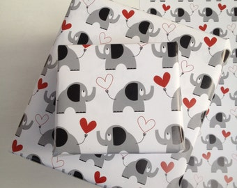 Elephant And Heart Wrapping Paper, Gift Tags & Stickers, Wedding Wrapping Paper, Kids Gift Wrap Set, New Baby And Valentines Wrapping Paper