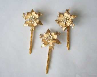Flora hair pins, SET 3 one-of-a-kind