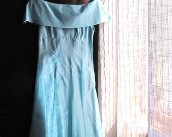 Vintage Aqua Prom Dress, Rockabilly, Bridesmaid Dress, Prom Gown, Ball Gown, Formal Gown, Turquoise Dress, Aqua Full Length Gown, '50s 1950s